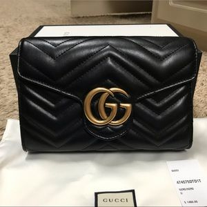Gucci Marmont Metalasse Leather Wallet on chain🥰